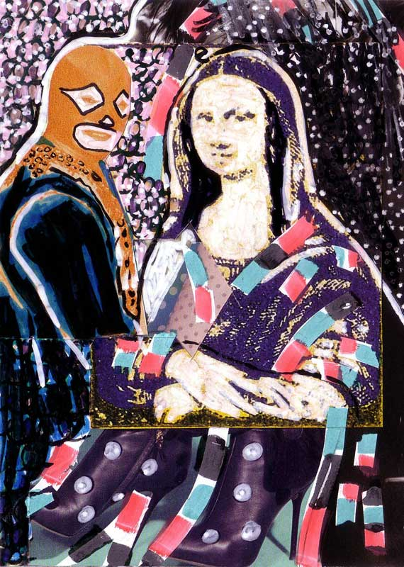 Mona lisa et lucha libre, collage, Blaize